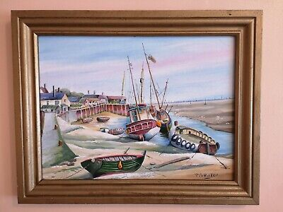 Oil Painting On Canvas ' Leigh On Sea ', Signed By P. Marshfield • 74.99£