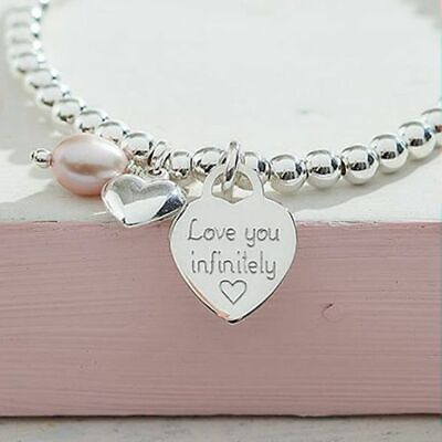 Silver Charm Ball Bracelet Engraved Heart Gift Boxed Personalised Jewellery Gift • 16.95£