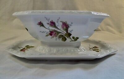 £23.03 • Buy Vintage Rosenthal Maria Moss Rose Porcelain Gravy Boat With Attached Underplate