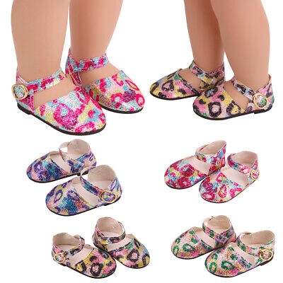 Popular 18inch Girl Doll Leopard Print Sequin Flat Shoes Dress Up Accessory • 4.12£