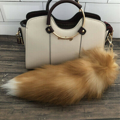 $9.99 • Buy Real Fox Fur Tail Keyring Bag Charm Car Phone Pendant Accessories Cosplay Toy