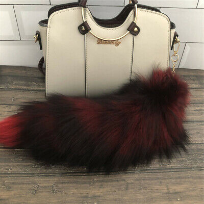 $8.99 • Buy 16  Red/Black Large Real Fox Fur Tail Car Bag Accessories Cosplay Toy Pendant