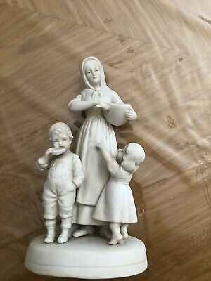 """$ CDN207.07 • Buy English Parian Porcelain 19th C. Figurine """"Mother And Children"""""""