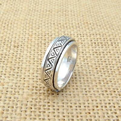 Mens Womens Plain 925 Sterling Silver Aztec Spinning Worry Band Thumb Ring 8mm • 17.95£