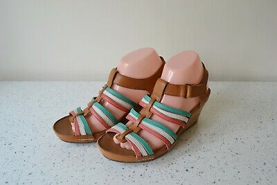 Clarks Rusty Lady Tan Multicoloured Leather/leather Lined Sandals Uk6d Rp £50.00 • 28£