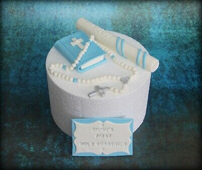 1st Holy Communion, Christening Edible Bible Rosary Candle Plaque Cake Topper  • 27.99£