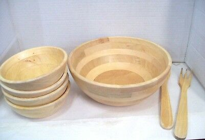$39.95 • Buy Wood Salad Bowl Set With Bamboo Servers Best For Serving Salad Pasta