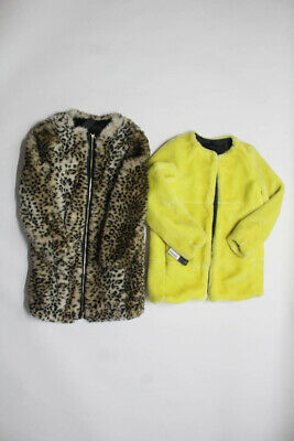 67fd9a71 Zara Basic Womens Faux Fur Jackets Coats Cheetah Yellow Wool Size XS S Lot  2 •