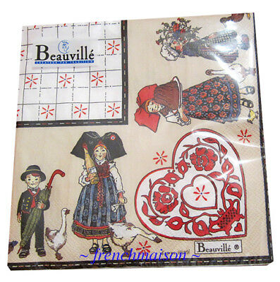 BEAUVILLE PAPER NAPKINS French 3-Ply Lunch Picnic Party ALSAC Mon Village New • 6.46£