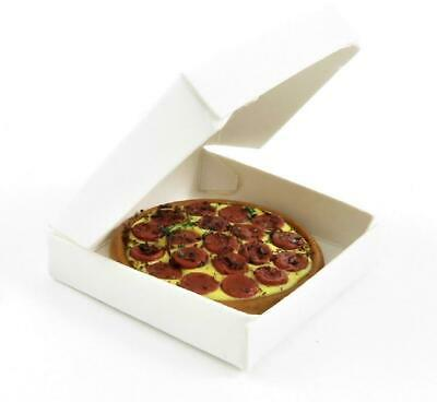 Dolls House Pepperoni Pizza In Box Take Away Fast Food Kitchen Cafe Accessory • 5.50£