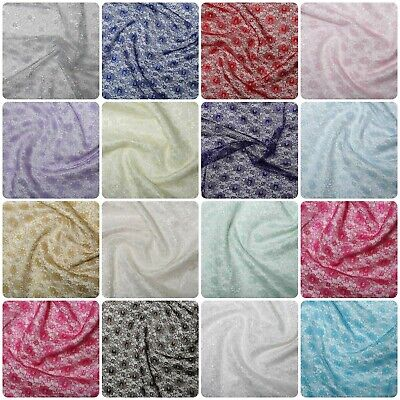 Pretty Budget Floral Lace Wedding Craft Dress Fabric Material All Colour 114cm • 3.94£