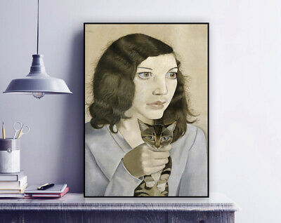 Lucian Freud - 'Girl With A Kitten' - 1947 Painting Print / Portrait / Art • 9.50£