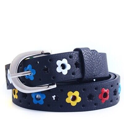 $6.97 • Buy Candy Color Flower Belt Buckle PU Leather Kids Toddler Butterfly Waistband