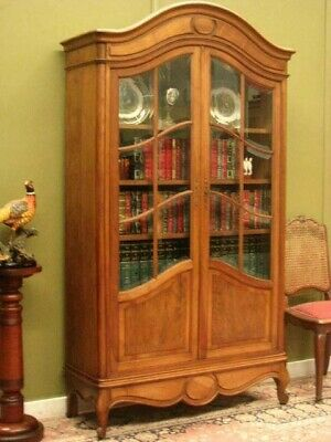 AU1800 • Buy Vintage French Walnut 2 Door Bookcase Cabinet With 12 Bevelled Glass Panels