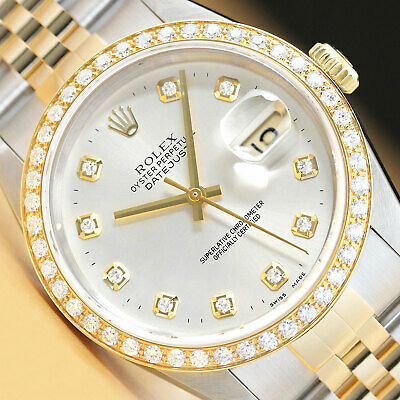 $ CDN8645.83 • Buy Rolex Mens Datejust 16233 Silver 18k Yellow Gold Stainless Steel Diamond Watch