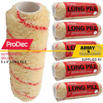 6 X ProDec 9  Inch Long Pile Woven Acrylic Refill Roller Paint Sleeves Emulsion • 13.98£