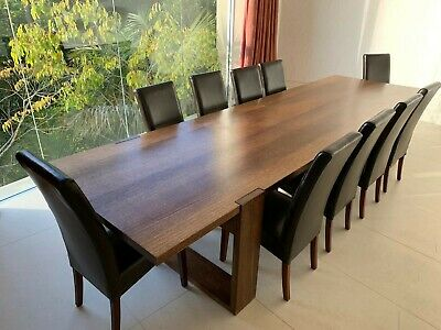 AU1950 • Buy Dining Table With 10 Leather Chairs - Rectangular - Dark Brown Wood
