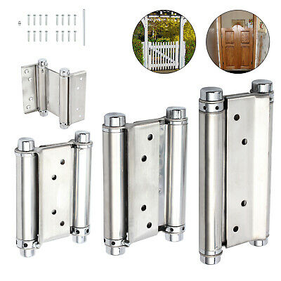 2x Double Action Spring Hinges Silver Laquered For Swing Doors 3  4  5  75-150mm • 9.96£