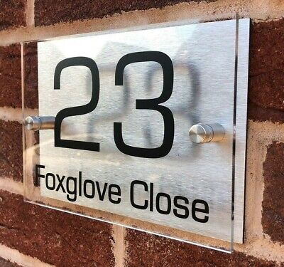 House Sign Plaques Door Sign Number Personalised Name Plate Aluminium Acrylic • 8.99£