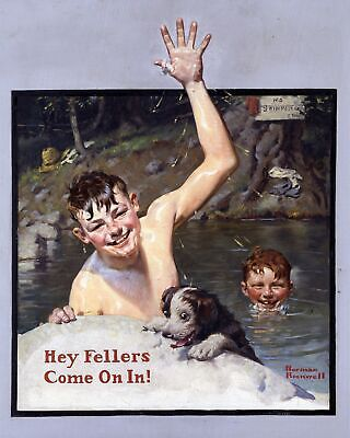 $ CDN33.16 • Buy  Hey Fellers, Come On In!  By Norman Rockwell. Canvas Children.  11x14 Print