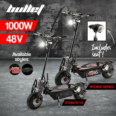 AU839 • Buy BULLET 1000W Electric Scooter 48V Turbo Red Black LED Light Adults Off Road Tyre