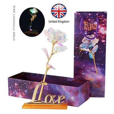 £10.30 • Buy Valentine's Day Galaxy Rose Romantic Crystal Flower Lovers Rose With Gift Box