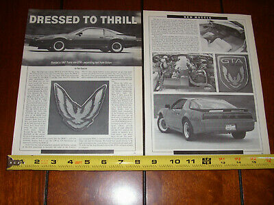 $12.95 • Buy 1987 Pontiac Trans Am Gta Original Article