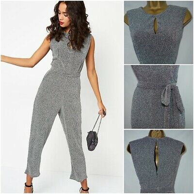New £25 George Jumpsuit Silver Grey Metallic Evening Party Plus Size 6 - 20 • 7.49£