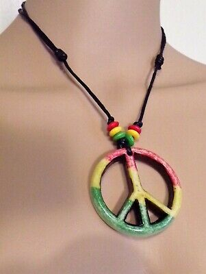 $6.99 • Buy Adjustable Rasta Peace Sign Necklace With Red, Green And Yellow Beads