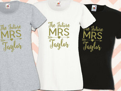 The Future Mrs Surname Hen Night T Shirts Do Party  Ladies Printed Personalised • 7.95£