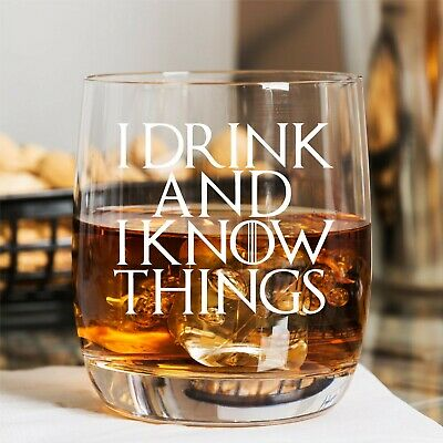 £11.99 • Buy Game Of Thrones Inspired Curved Whisky Glass  I Drink And I Know Things