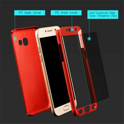 AU9.01 • Buy For Samsung Galaxy J4 J6 J8 Plus A6 A7 A8 360° Full Cover Case + Tempered Glass