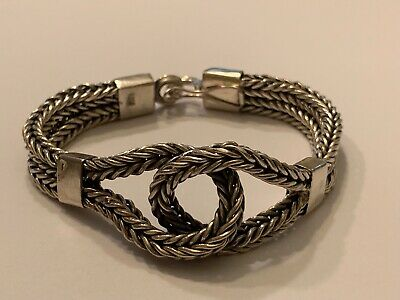 "$79 • Buy Heavy Double FOXTAIL Weave Sterling SILVER 7.5""L INFINITY Bracelet,45g Safety"