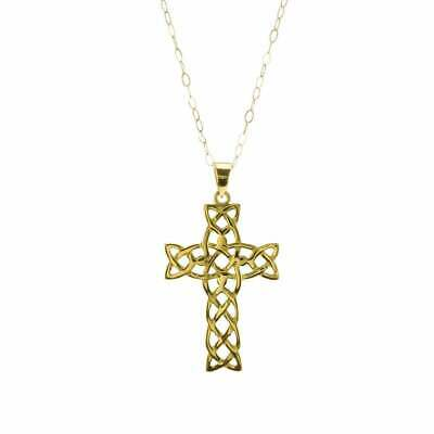 Eternity 9ct Gold Celtic Cross Pendant And 16'' Trace Chain • 86£