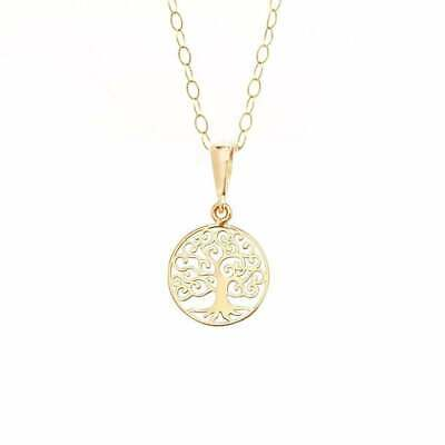 Eternity 9ct Gold Small Round Tree Of Life Pendant & 16  Trace Chain • 51£