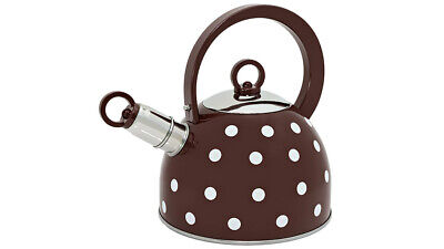 Whistling Small Stove Top Kettle 1.8L White Polka Dot Visual Effect Brown Body • 14.99£
