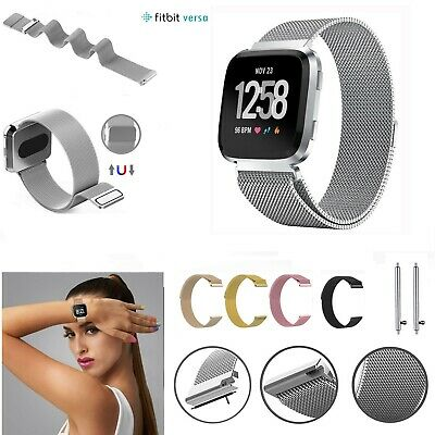 $ CDN10.24 • Buy For Fitbit Versa Strap Replacement Milanese Wrist Band Stainless Steel Magnetic