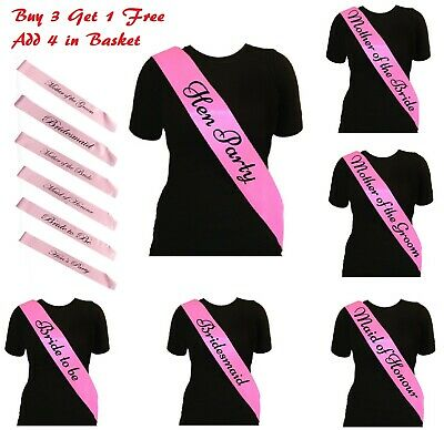 Pink Hen Party Sashes Girls Night Out Sash Wedding Bride To Be  Bridesmaid Honor • 0.99£