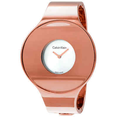 £40.99 • Buy Calvin Klein Seamless Silver Dial Ladies Small Rose Gold-tone Bangle Watch