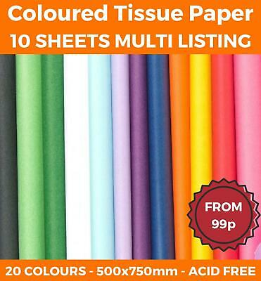 £4.63 • Buy 10 SHEETS - TISSUE PAPER LARGE ACID FREE QUALITY SHEETS BIO 50x75 20 COLOURS