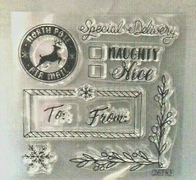 Sizzix Clear Rubber Stamp  8 Stamps Christmas Theme • 4.19£