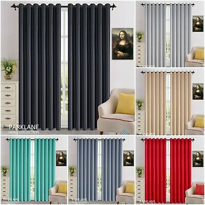 THERMAL BLACKOUT CURTAINS Eyelet / Ring Top OR Pencil Pleat With FREE Tie Backs • 22.18£