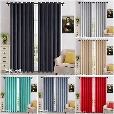£23.95 • Buy Thick Thermal Blackout Ready Made Eyelet Ring Top Pair Curtains Panel +Tie Backs