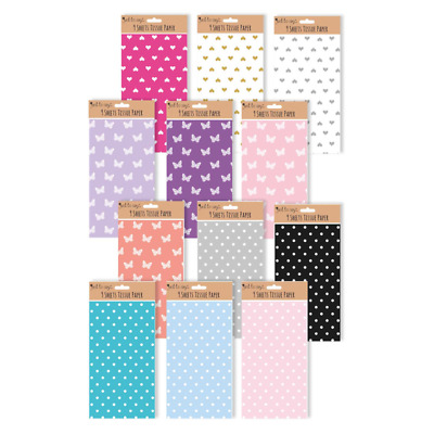 £2.34 • Buy 9 X Sheets Tissue Paper Wrapping And Crafting - Spots Butterfly Hearts Colours