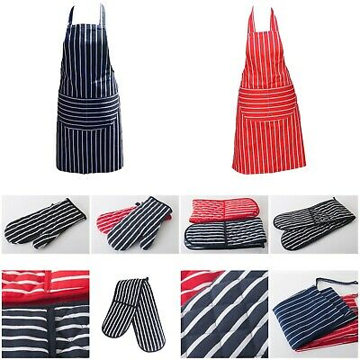 £4.98 • Buy 100% Cotton Butcher Stripe Kitchen Apron Quilted Single Double Oven Gloves Mitts