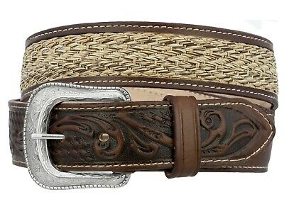 $24.99 • Buy Kids Boys Brown Tooled Western Dress Cowboy Belt Woven Braided Removable Buckle
