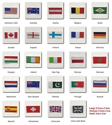 National Country Flags Different Sizes Iron Sew On Patch Badge • 1.75£