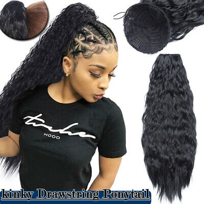 PonyTail Afro Kinky Wave Curly Ponytail Puff Drawstring Clip In Hair Extension J • 8.81£