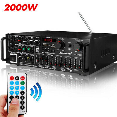 £52.49 • Buy 2000W Bluetooth Stereo Amplifier HIFI 2CH Tuner Remote Control USB SD Mic Input