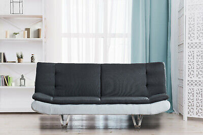 Fabric Sofa Bed 3 Seater With Faux Leather - Charcoal Grey & White, Chrome Legs • 169.99£